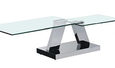 Table basse verre extensible avec piétement chromé - Modèle OPEN