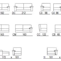 Dimensions du canapé d'angle 3842