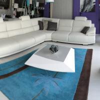 Canapé d'angle panoramique cuir ou tissu - modèle 3892