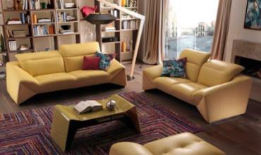 Canapé design cuir & tissu - Nombreux coloris au choix -1779