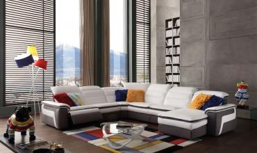 Salon d'angle panoramique relax en cuir - Modèle 318E