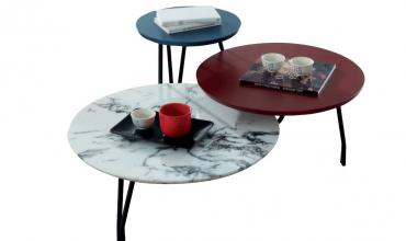 Table basse 3 plateaux fixes rouge et bleue - Modèle CLEO