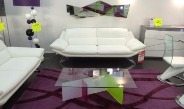 Canapé cuir design pieds métal suspendus - modèle 2643