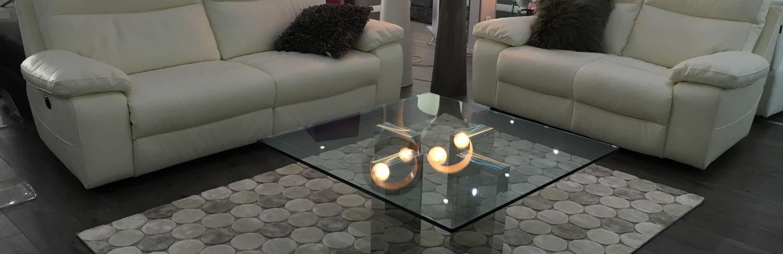 Canapé relax revêtement cuir & tissu Contemporain - Modèle 699 E