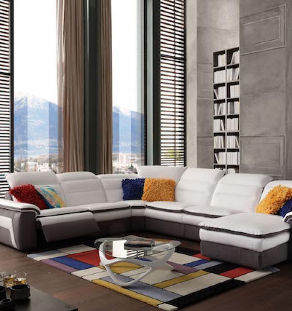 Salon d\'angle panoramique relax en cuir - Modèle 318E ...