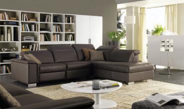 Canapé d'angle en cuir avec relax