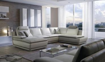Canapé d'angle cuir avec chaise longue - modèle 3820