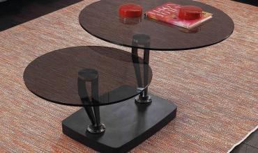 Table basse verre trempé fumé - Modèle MIKA