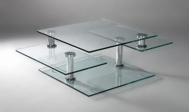 Table basse verre modulable design - Modèle MOVING