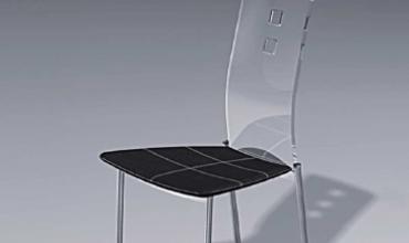 Chaise design plexiglass et cuir