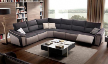 Salon d'angle panoramique relax en tissu microfibre effet cuir - Modèle 834E