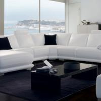 Canapé d'angle contemporain en cuir - Modèle 3609