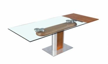 Table salle à manger design en verre, avec rallonges modèle STEELWOOD