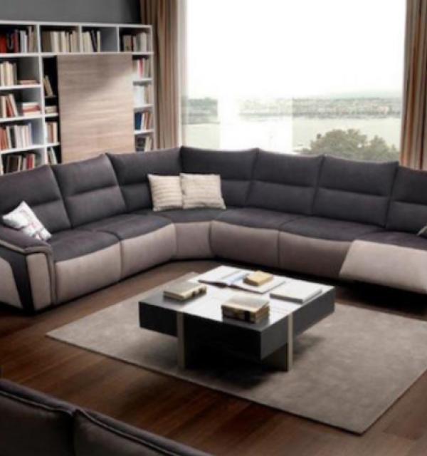 Salon d\'angle panoramique relax en tissu microfibre effet cuir ...