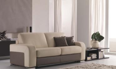 Canapé lit cuir et microfibre