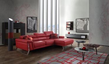 Canapé Design, avec têtières réglables et pieds en métal chromé - 2601