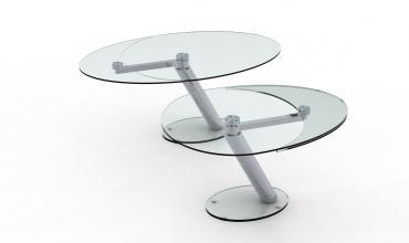 Table de salle à manger en verre trempé ZESTE avec rallonge.