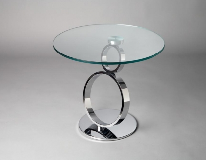 Bout de canap design en verre et metal mod le eyes for Table bout de canape en verre