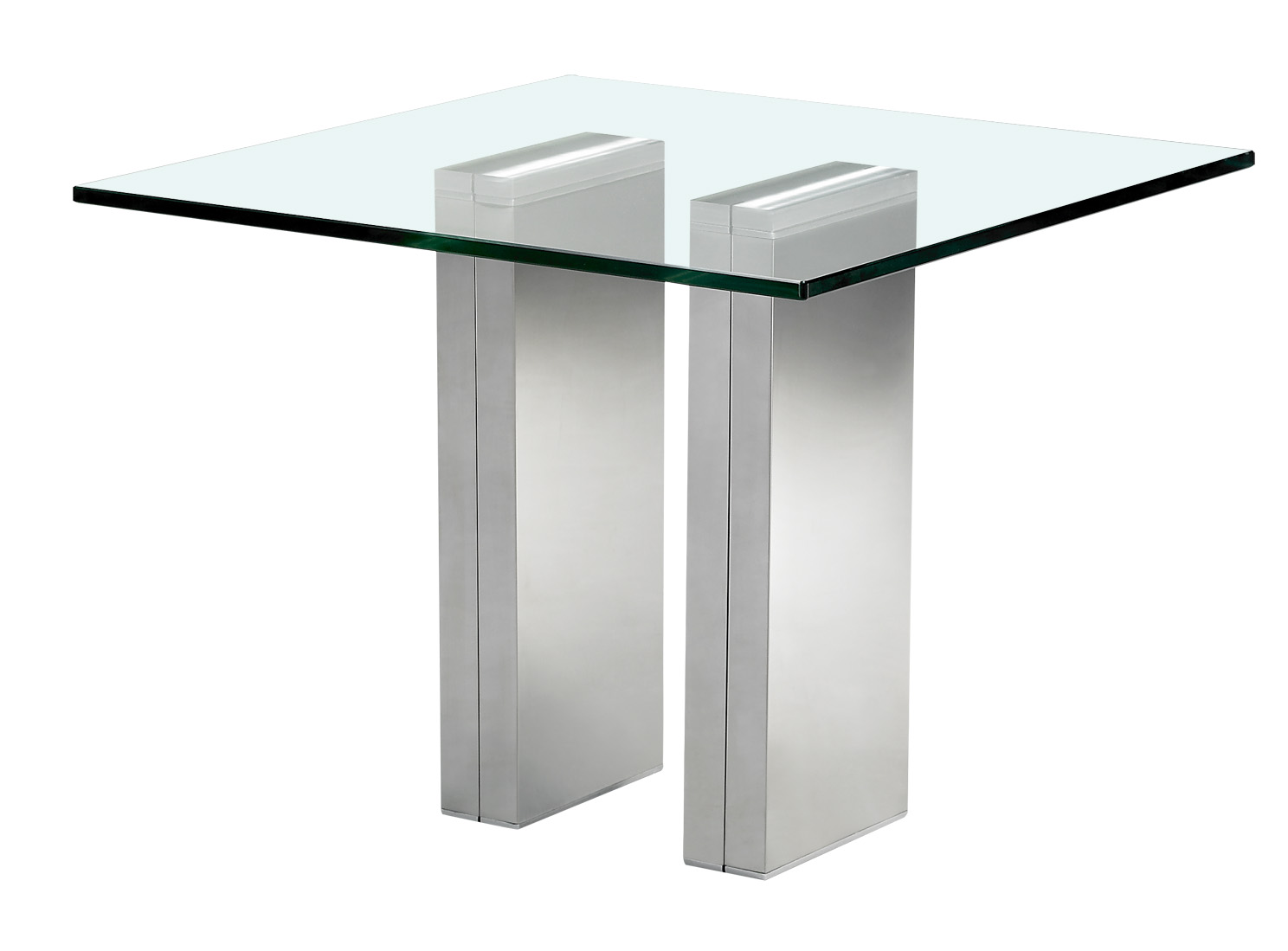 Bout de canap verre tremp et acier chrom brick for Table bout de canape en verre