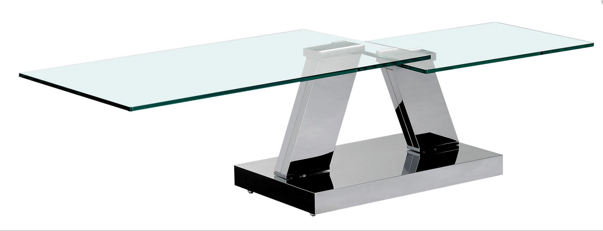 avec verre piétement Table OPEN chromé Modèle basse extensible sCtrdhQ