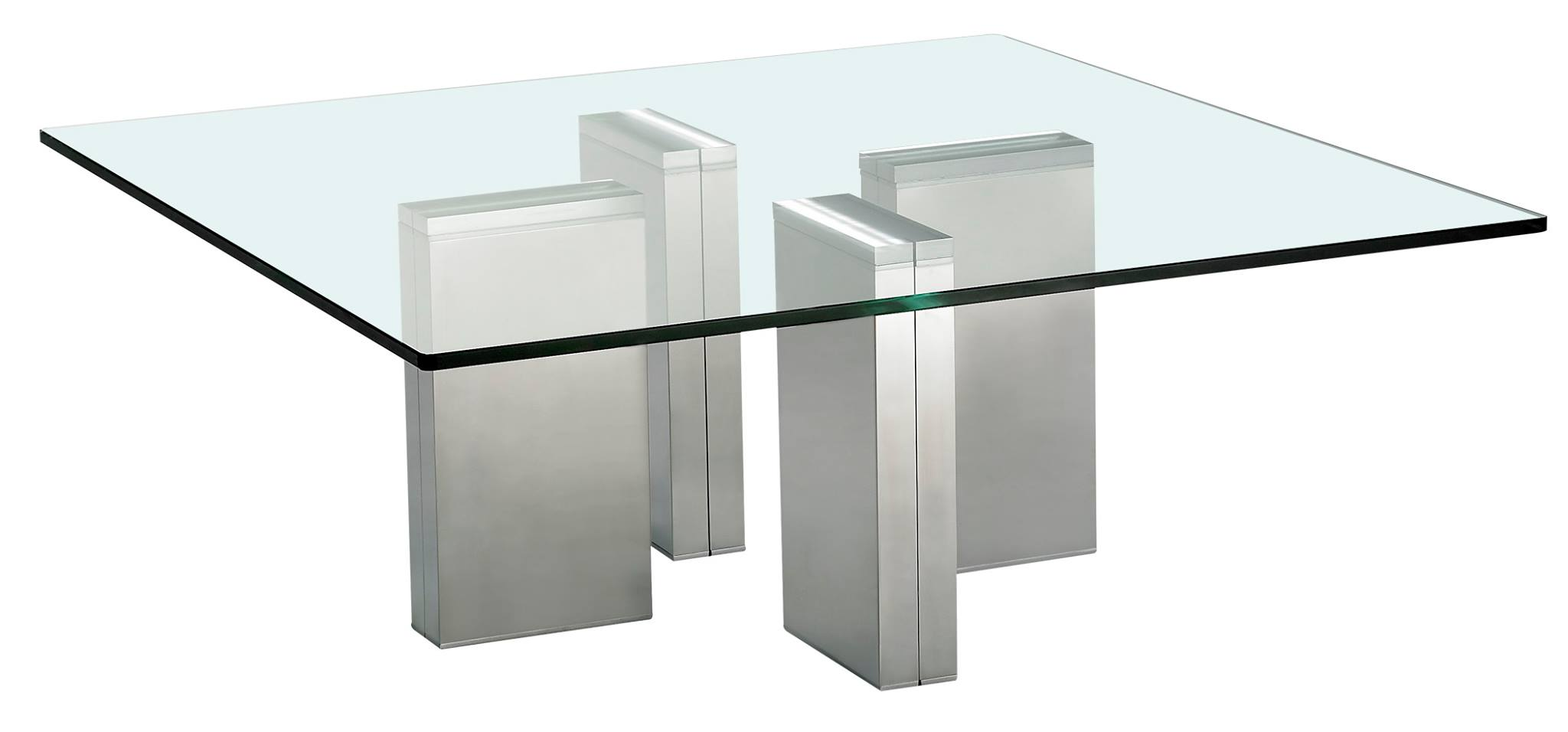 Table basse verre tremp et acier chrom brick eda concept for Table basse verre