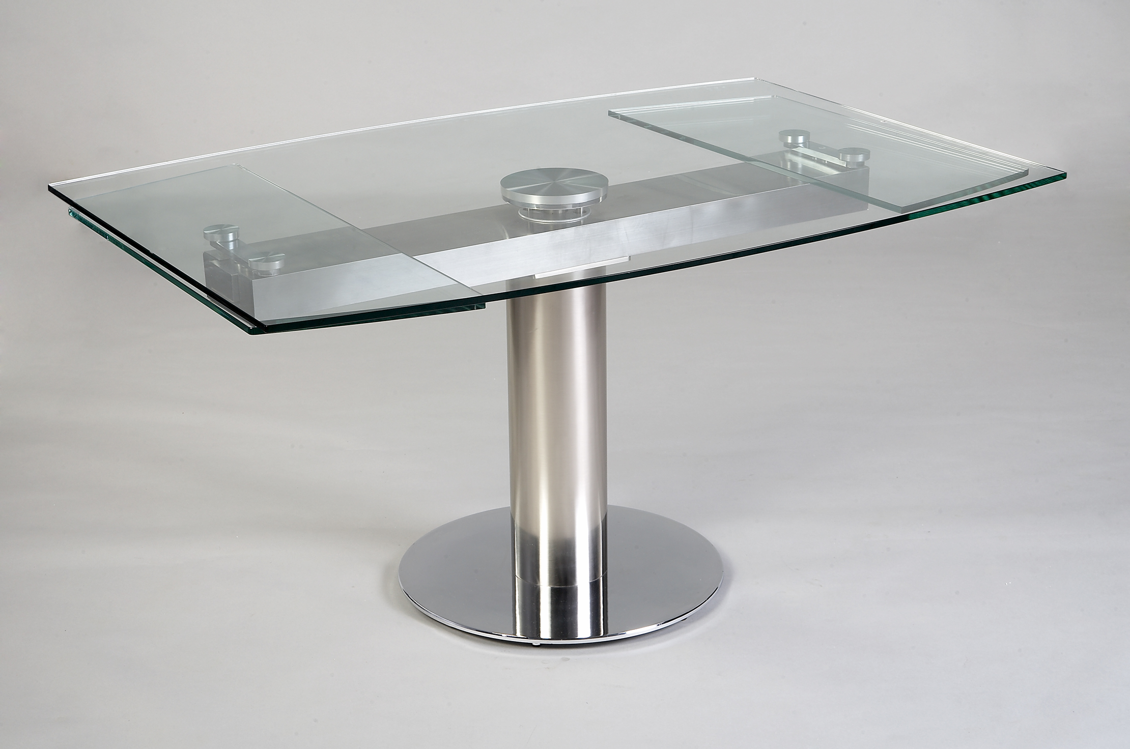 Table contemporaine en verre avec rallonge for Table de cuisine moderne en verre