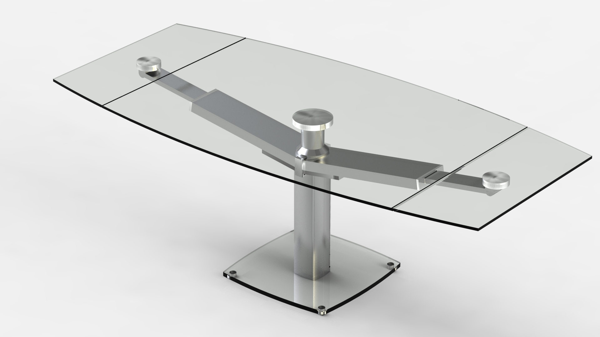 Table repas design en verre tremp avec rallonges club eda for Table de cuisine design avec rallonge