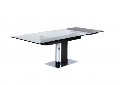 Table salle manger design en verre avec rallonges for Table a manger a rallonge design