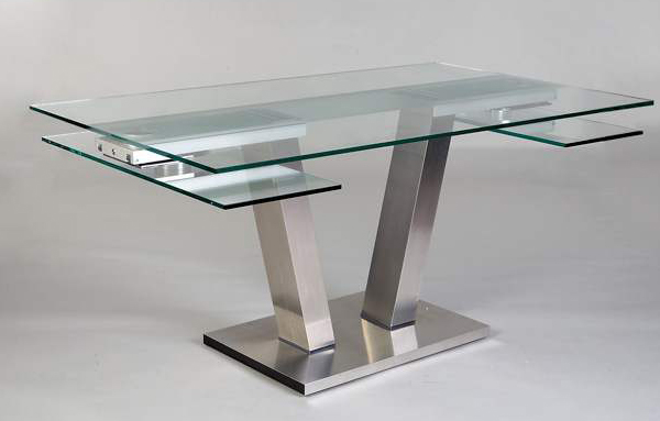 Table repas design verre extensible vinci eda concept for Table ronde extensible design