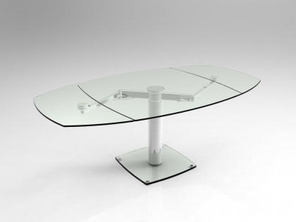 Table verre trempe extensible - Table en verre trempe ...