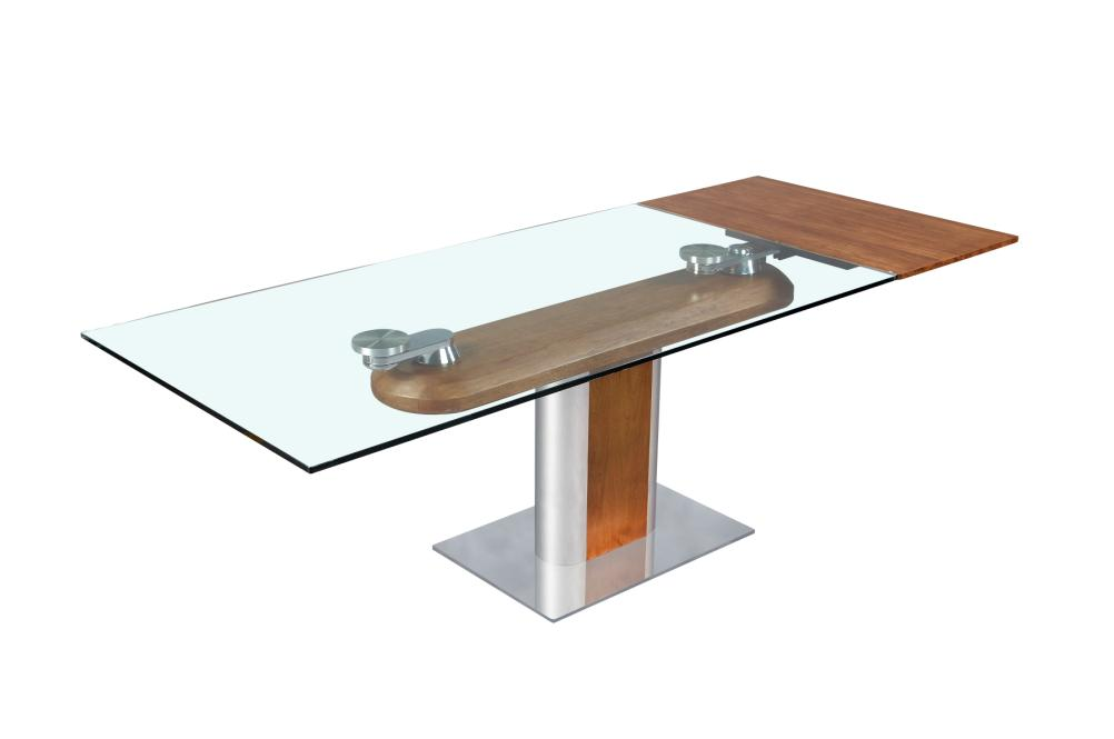 Table salle manger design en verre avec rallonges for Table verre rallonge