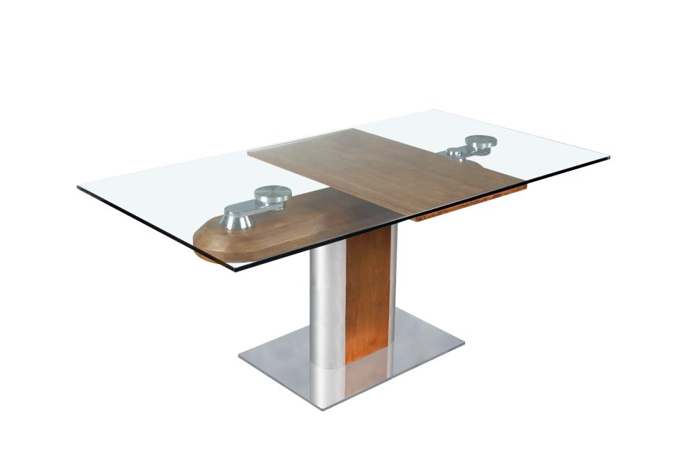 Table salle manger design en verre avec rallonges for Model de table a manger en bois