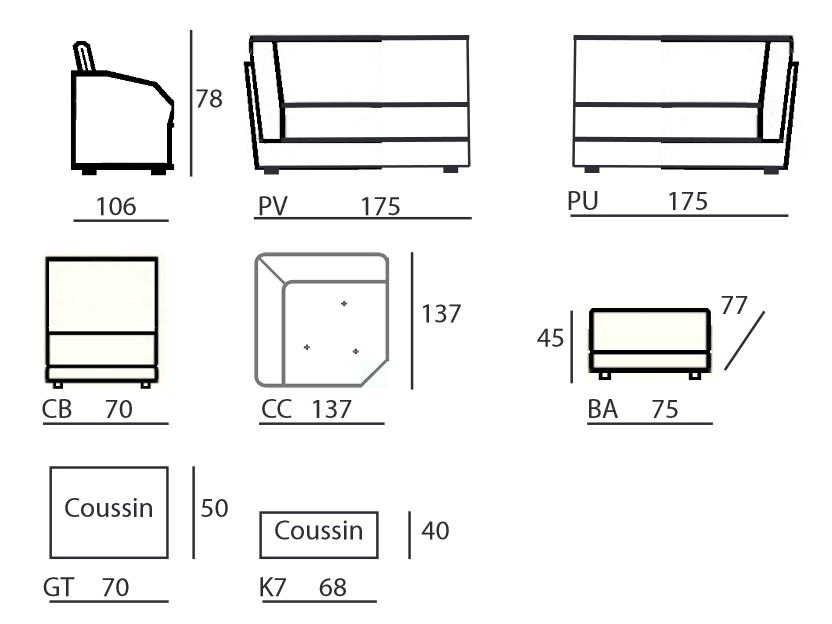 Dimensions canapé d'angle Chateau d'Ax Marseille modèle 2698