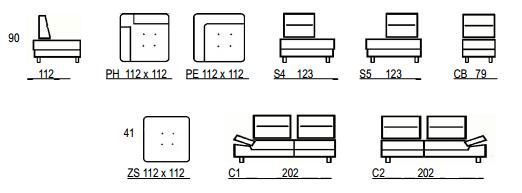 Dimensions du canapé 3722
